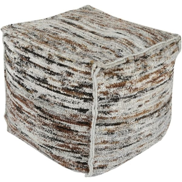"18"" Sand, Taupe Brown, Obsidian and Gray Hand Woven Square Pouf Ottoman - N/A"