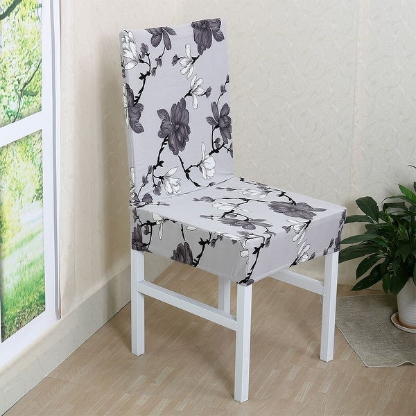 Shop Floral Removable Stretch Dining Chair Cover On Sale