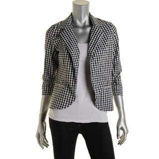 Aqua Womens Cardigan Top Plaid Collar