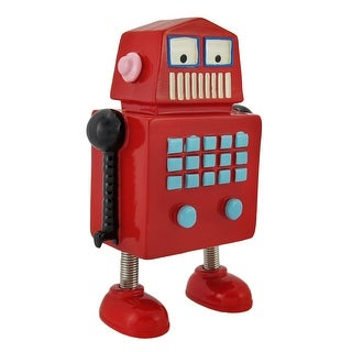 Whimsical Red Robot Coin Bank with Springy Legs
