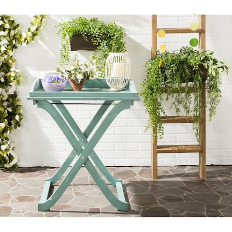 "SAFAVIEH Outdoor Living Covina Beach House Blue Tray Table - 18.9""x27.2""x31.5"""