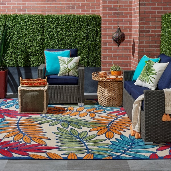 Nourison Aloha Multicolored Leaf Print Indoor / Outdoor Area Rug