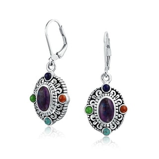 Bling Jewelry Purple Synthetic Turquoise Dangle Earrings Silver