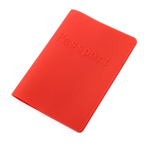 Silicone Water Resistant Passport Cover Protector Ticket Holder Storage Red