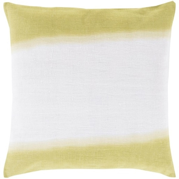"20"" Lime Green and White Double Dip Decorative Throw Pillow - Down Filler"