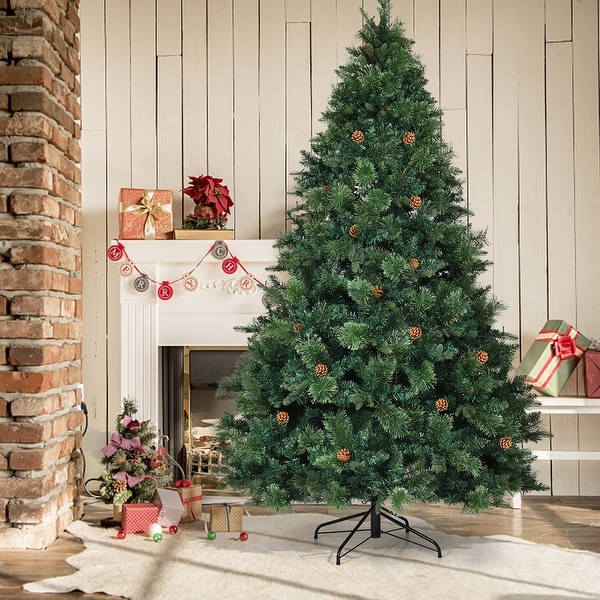 Shop Gymax Pre-lit 7.5Ft Christmas Tree Hinged Artificial ...