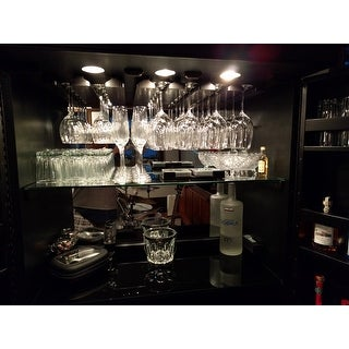 Ashley Heights Black Stain Home Bar Wine Cabinet