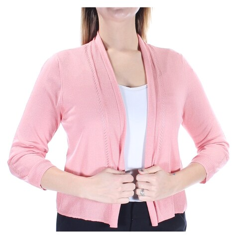 Womens Pink Long Sleeve Open Cardigan Casual Sweater Size L