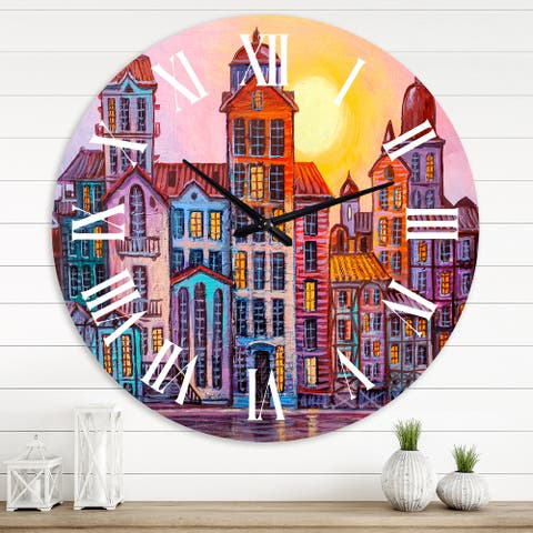 Designart 'Street Scene In Old Town With Colorful Buildings' Mid-Century Modern wall clock