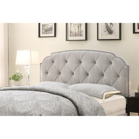 Curved Upholstered Full/ Queen Headboard in Cloud Grey