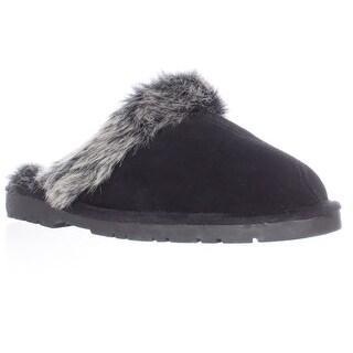 Sporto Jasmine Faux Fur Mule Slippers - Black