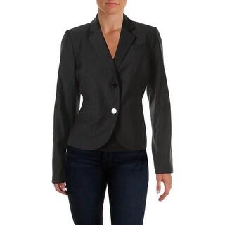 Calvin Klein Womens Petites Woven Pinstripe Two-Button Blazer