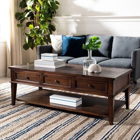 "Safavieh Manelin Sepia Traditional Rectangle Coffee Table - 54"" x 23.6"" x 19.3"""