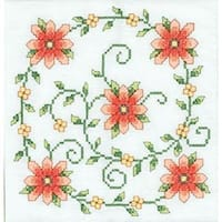 "Swirl Of Flowers - Stamped Cross Stitch Quilt Blocks 18""X18"" 6/Pkg"