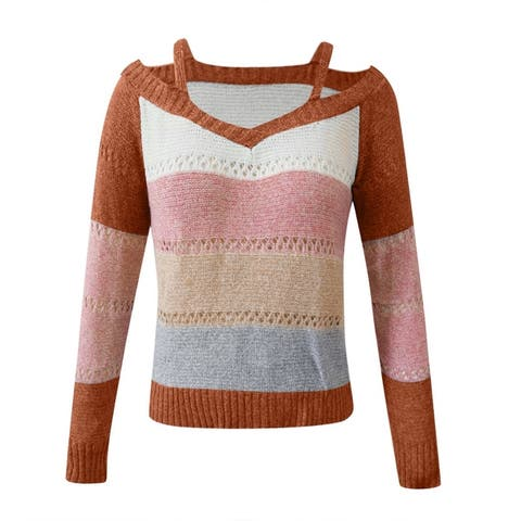 Sexy Women Long Sleeve Cold Shoulder Knitted Sweater Strappy Pullover Jumper