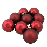 "9-Piece Shiny and Matte Burgundy Red Glass Ball Christmas Ornament Set 2.5"" (65mm)"