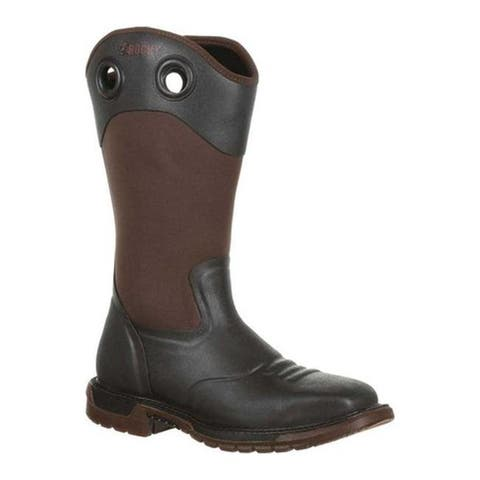 Rocky Men's Original Ride FLX Steel Toe Rubber Boot RKW0244 Dark Brown Rubber/Neoprene
