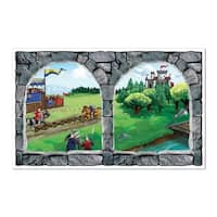 """Pack of 6 Castle Window Insta-View Medieval Theme Wall Decoration 62"""""""