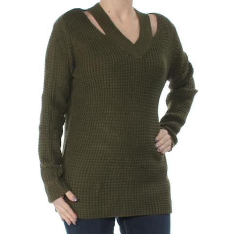 HOOKED UP Womens Green Cut Out Long Sleeve V Neck Sweater Juniors Size: S