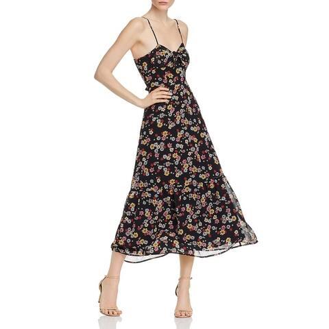 BB Dakota Womens Daisy Bell Midi Dress Knot-Front Floral - Black