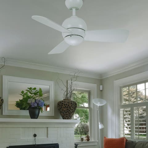 Low Profile Ceiling Fan, 30 Inch Indoor/Outdoor Fixture with 3 Blades and Wall Control Contemporary Design with Dual Mount