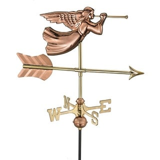 "21"" Handcrafted Polished Copper Trumpeting Angel Outdoor Weathervane with Garden Pole"