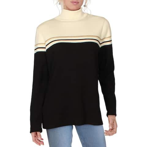 Anne Klein Womens Turtleneck Sweater Cozy Comfy - Black/White Cream