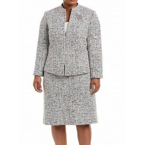 Tahari By ASL Women's Skirt Suit Gray Size 18W Plus Tweed Embellish