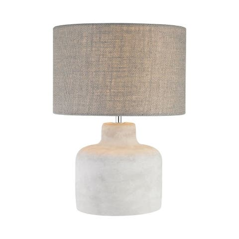 Polished Concrete Table Lamp Made Of Concrete And Metal With A Light Grey Burlap Shade Polished - Polished Concrete