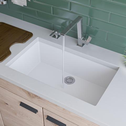 Alfi White Granite Composite 30-inch Undermount Single Bowl Kitchen Sink
