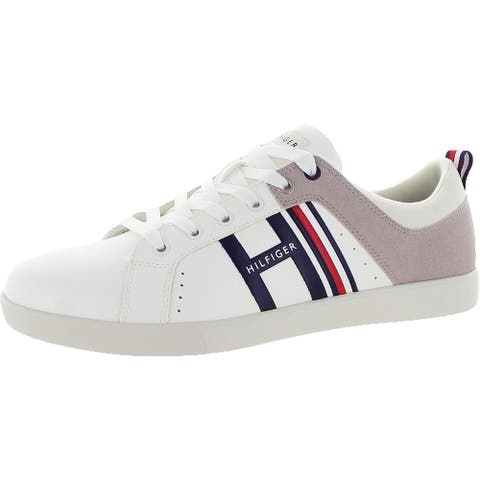 Tommy Hilfiger Mens Casual Sneakers Faux Leather Lifestyle - White