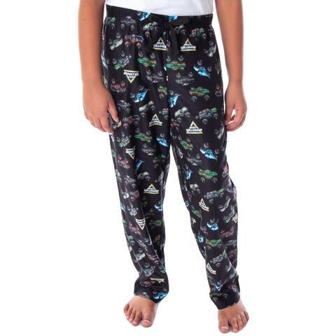 Monster Jam Boys' Monster Truck Allover Pattern Kids Lounge Sleep Pajama Pants