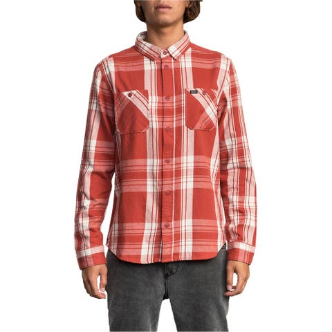 RVCA Mens Plaid Flannel Button Up Shirt, Red, Small
