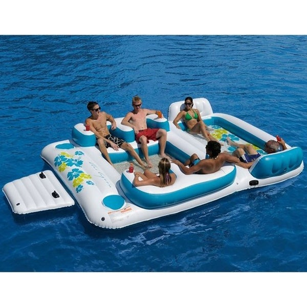 ALEKO Inflatable Floating Island Lounge Raft with Cup Holders and Coolers - Tropical Breeze - 6 Person - White and Blue. Opens flyout.