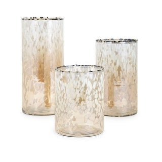 IMAX Home 13841-3  Luxe 3 Piece Glass Pillar Hurricane Candle Holder Set by Trisha Yearwood - Gold