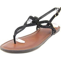 Fergalicious Sylvia Women  Open-Toe Canvas Black Slingback Sandal