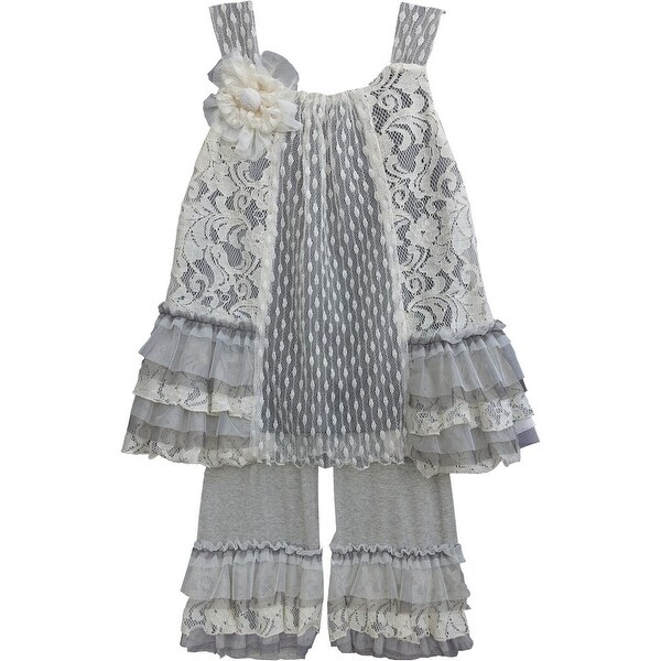 Isobella & Chloe Baby Girls Gray Parisian Chic Two Piece Pant Outfit Set 9M-24M