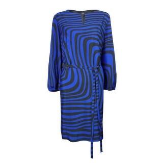 Tahari Women's Belted Keyhole Multi Wave Shift Dress