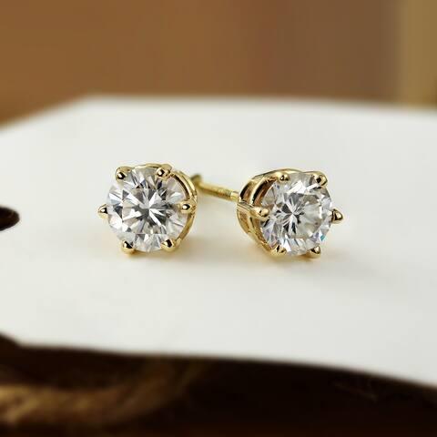 Auriya 1ctw Round Moissanite Stud Earrings 14k Gold - 5 mm