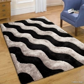 "AllStar Rugs Grey Shaggy Area Rug with 3D Black Wavy Design. Contemporary Formal Tween Hand Tufted (7' 6"" x 10' 5"")"