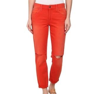Joe's NEW Orange Women Size 26X26 Boyfriend Slim Distressed Jeans