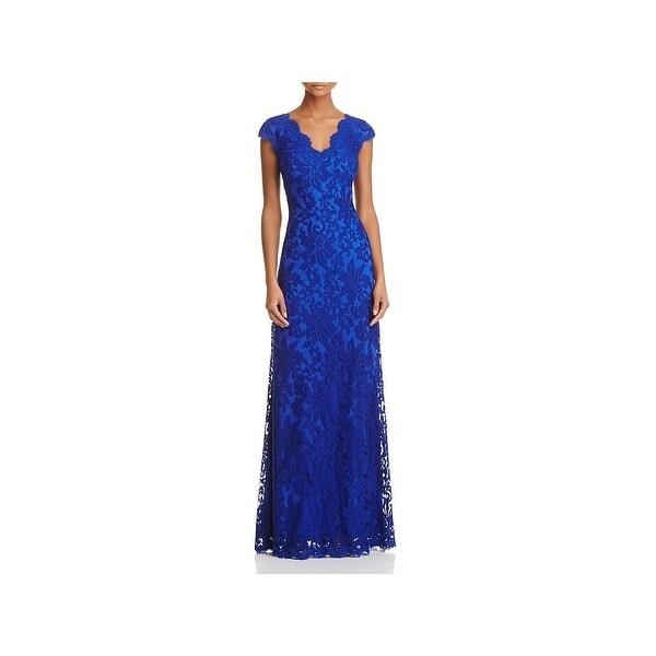 Tadashi Shoji Womens Evening Dress Lace V-Neck