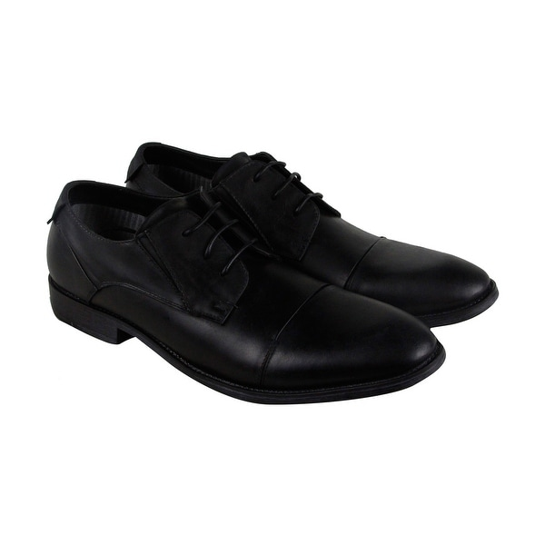Steve Madden Quantim Mens Black Leather Casual Dress Lace Up Oxfords Shoes