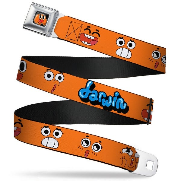 Darwin Face Close Up Full Color Black Darwin Expressions Orange Blue Seatbelt Belt