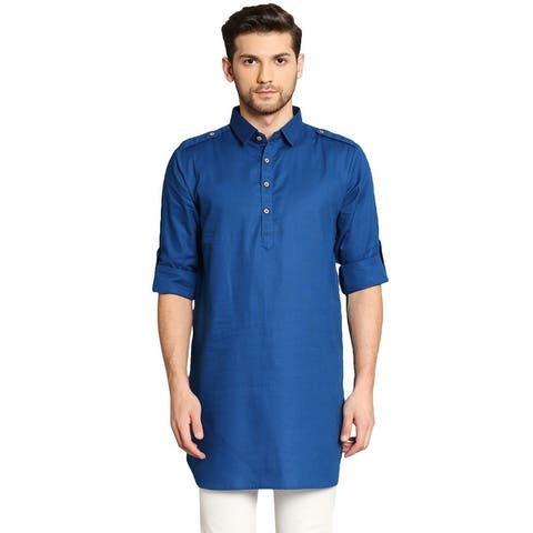 In-Sattva Men's Pathani Rollup Sleeve Kurta Tunic with Shoulder Strap