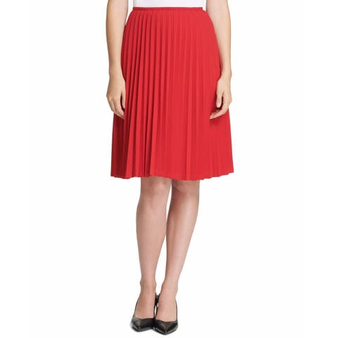 Calvin Klein Women's A-Line Skirt Fire Red Size 14P Petite Pleated