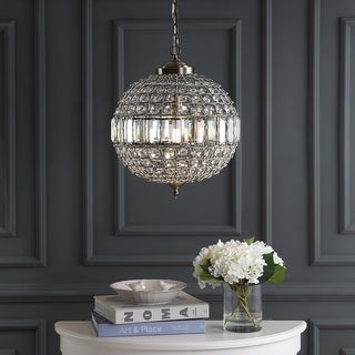 """Link to Georgina 16"""" Crystal/Metal LED Chandelier Pendant, Antique Brass by JONATHAN  Y Similar Items in Chandeliers"""