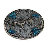 CTM® Women's Horse Belt Buckle with Turquoise Accents