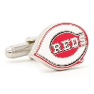 Silver Plated Cincinnati Reds Cufflinks - Red
