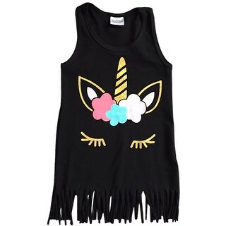 Unicorn Fringe Bottom Tank Top Tee Cami for Little Girl Black 201479
